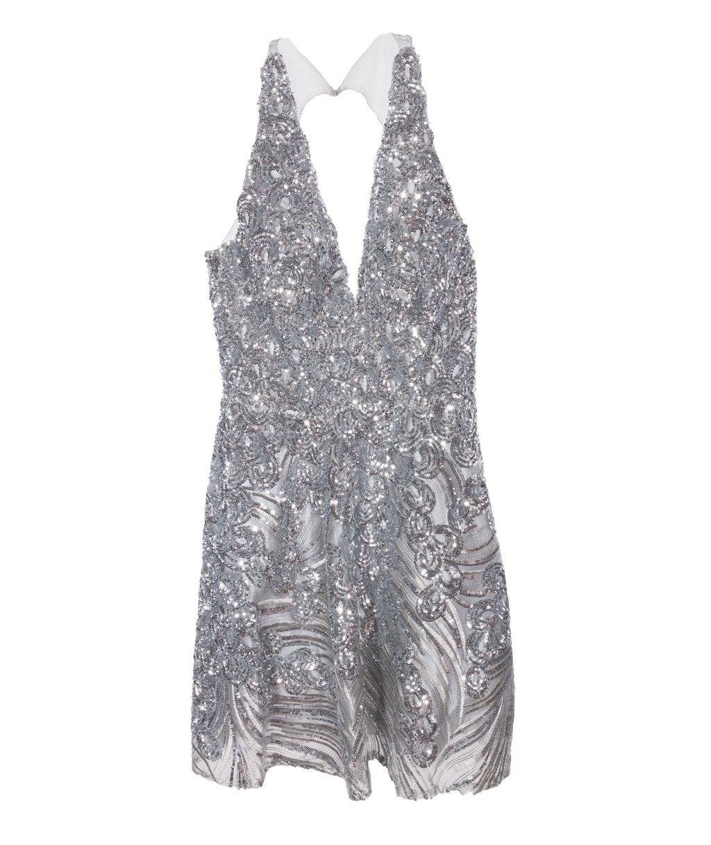 Jovani Women Silver Sparkle Dress