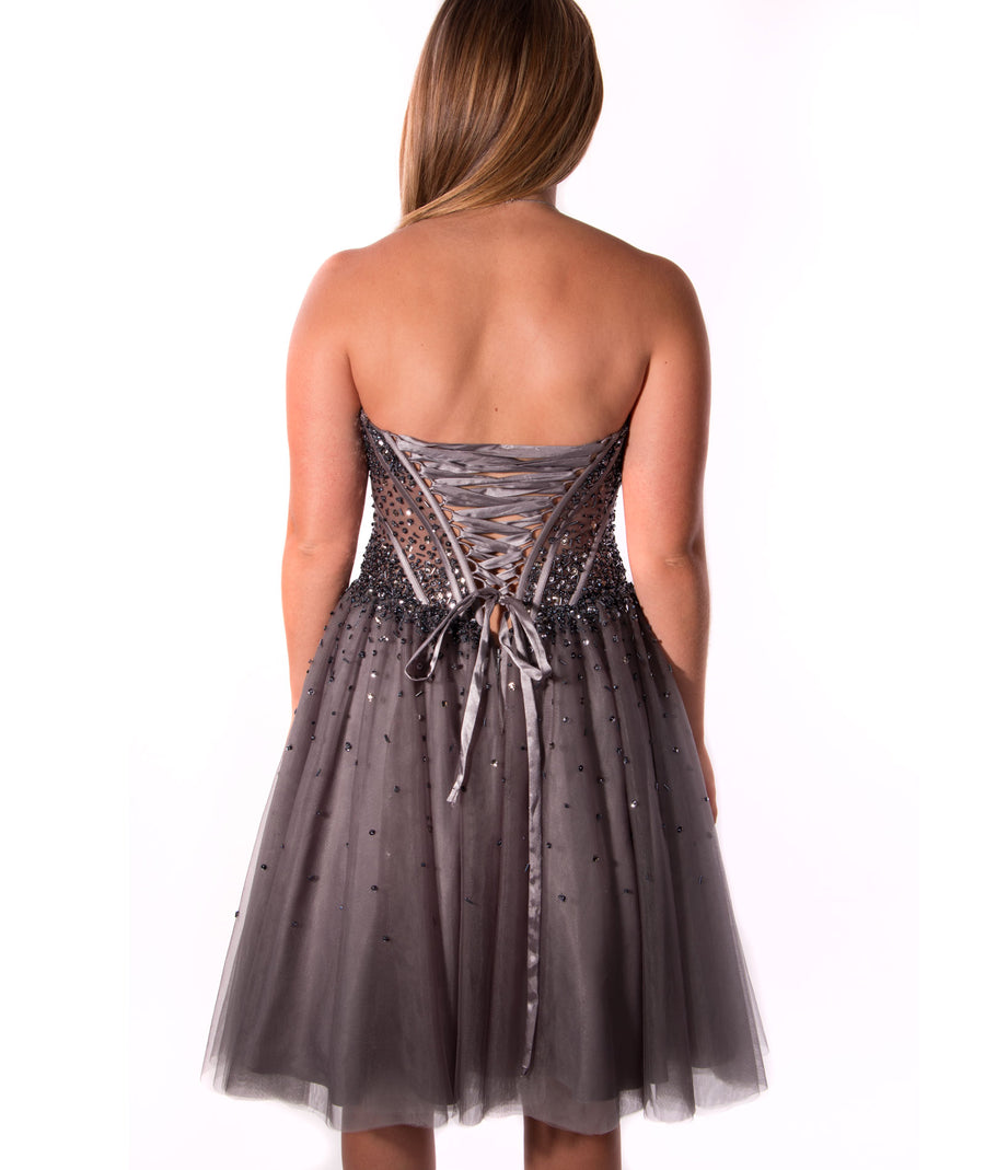 Jovani | Womens Charcoal Beaded Corset Gown | Frankie\'s on the Park