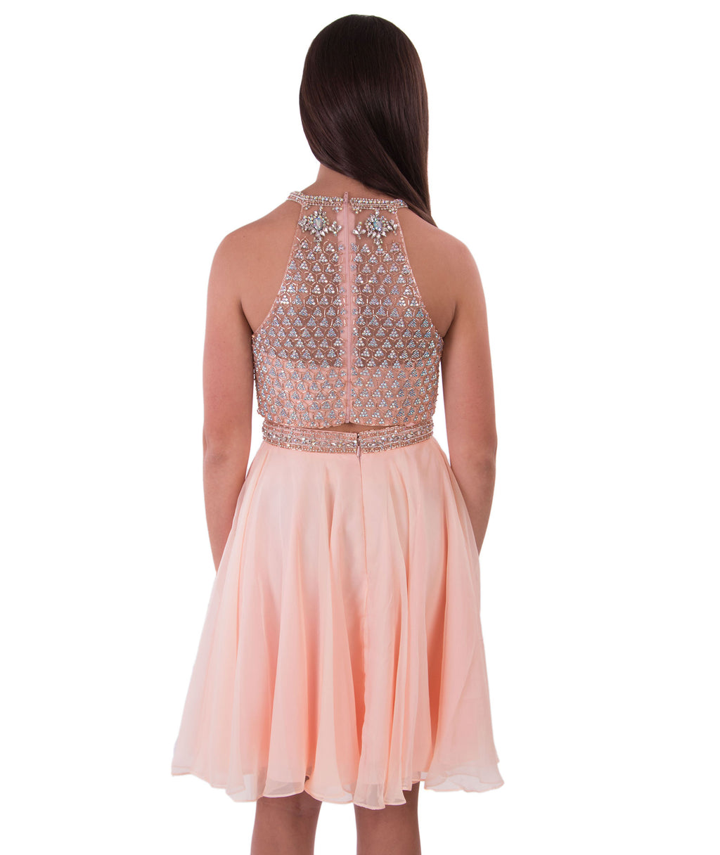 Jovani Womens Blush Two Piece Embellished Dress - Frankie's on the Park