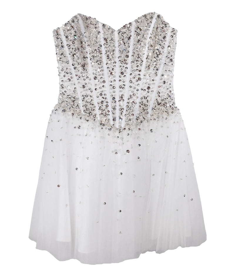 Jovani Girls White and Silver Beaded Corset Dress