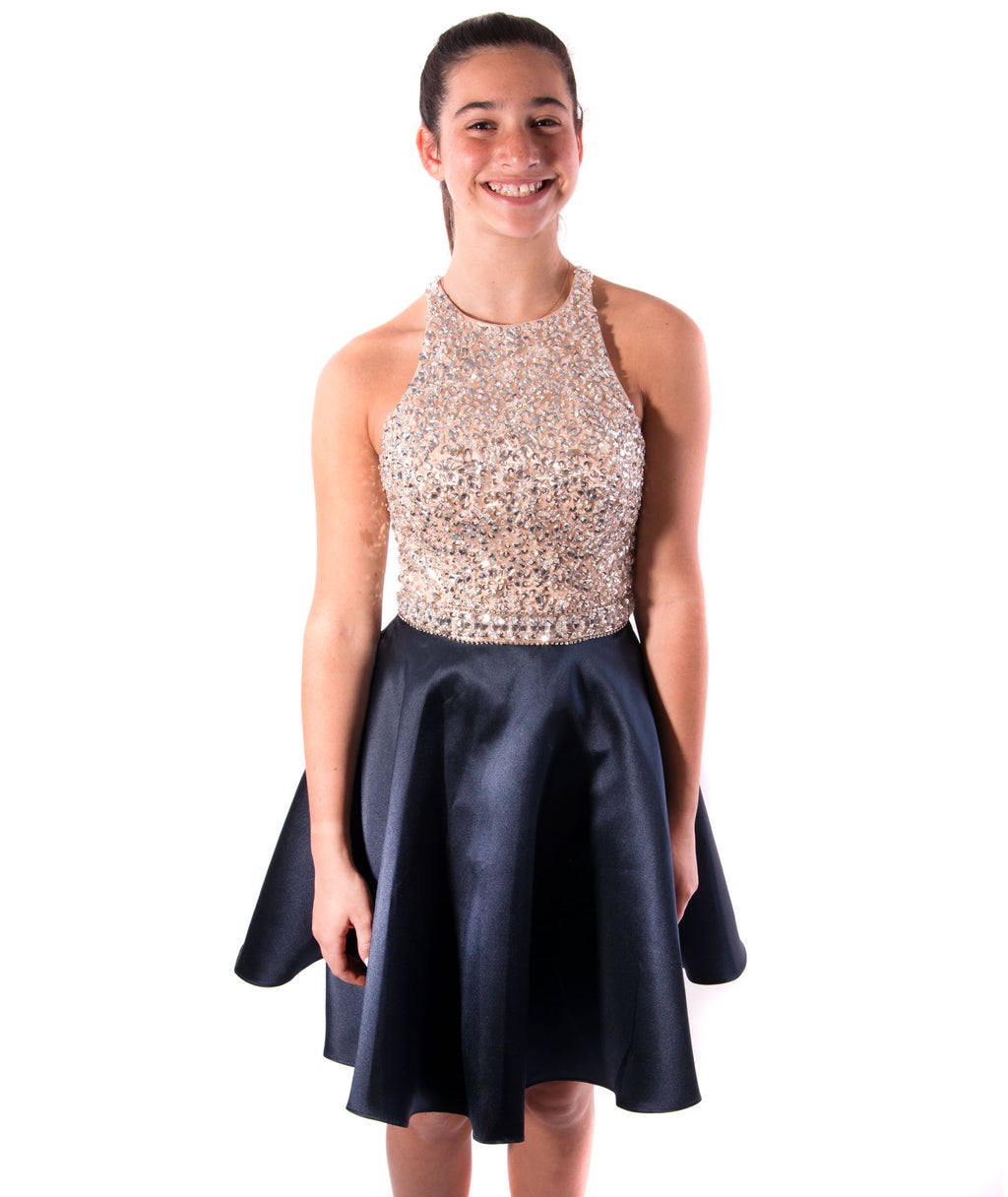 Jovani Girls Beige Beaded Top and Navy Skirt Party Dress - Frankie's on the Park