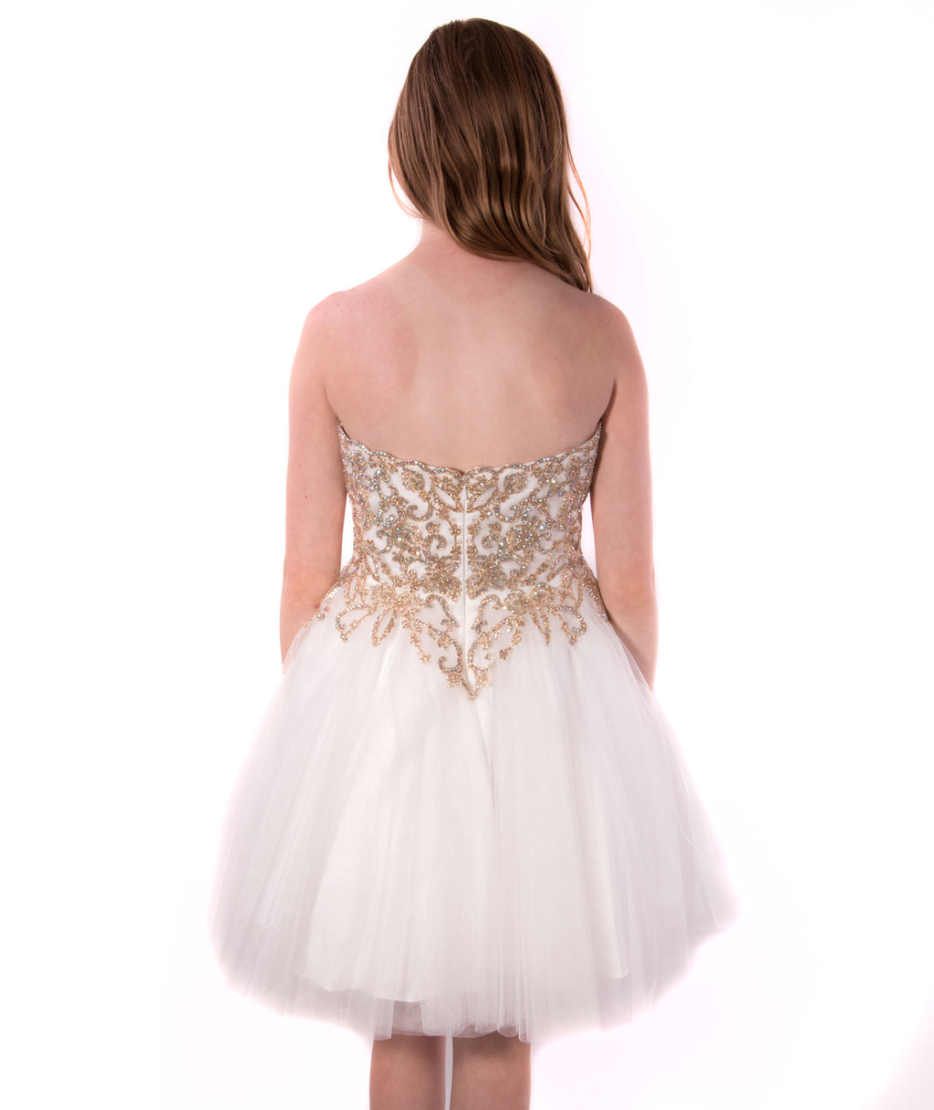 Jovani Girls Ivory and Gold Strapless Dress