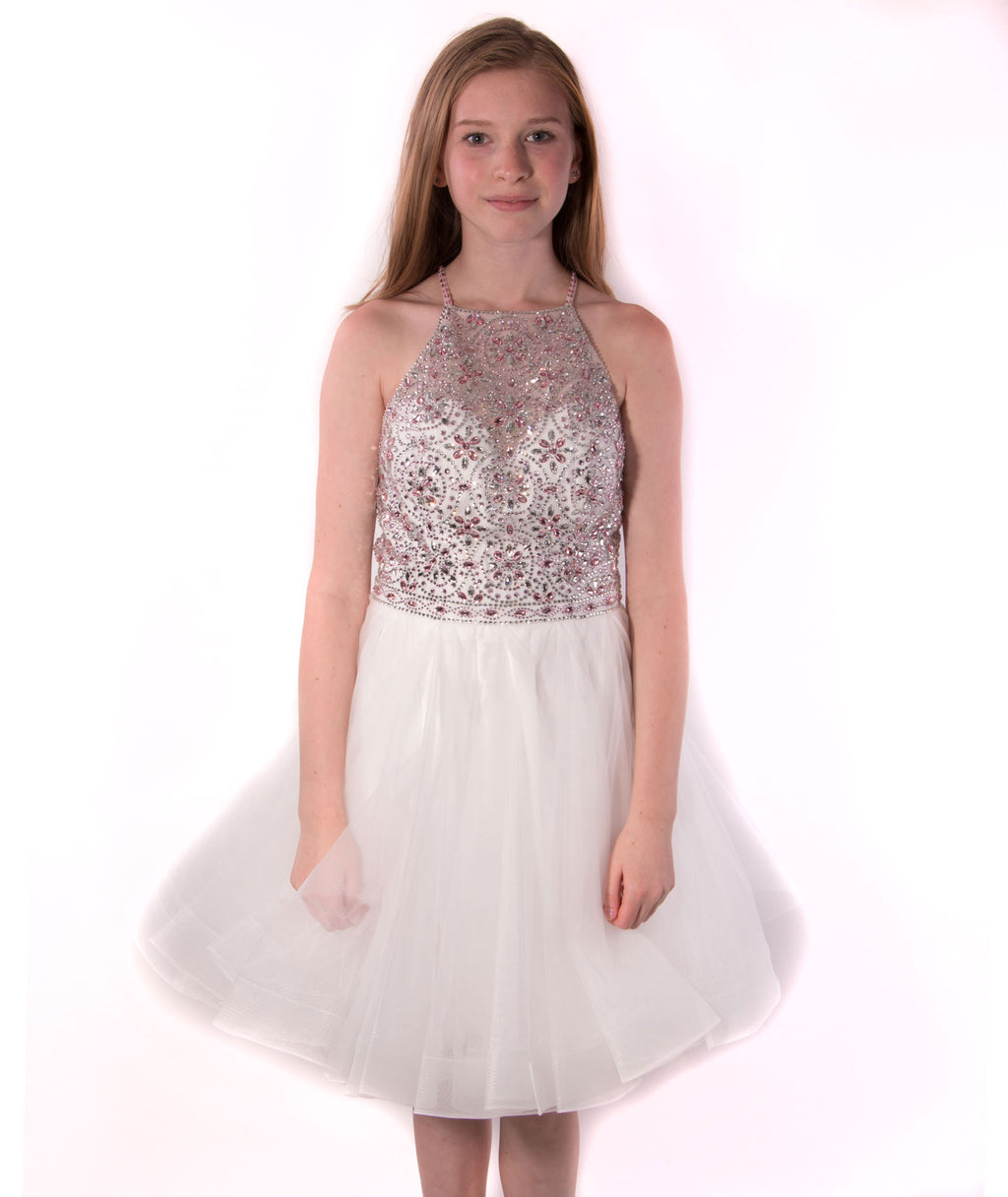 Jovani Women White and Pink Beaded