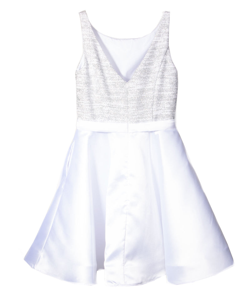 Jovani Girls White & Silver Dress