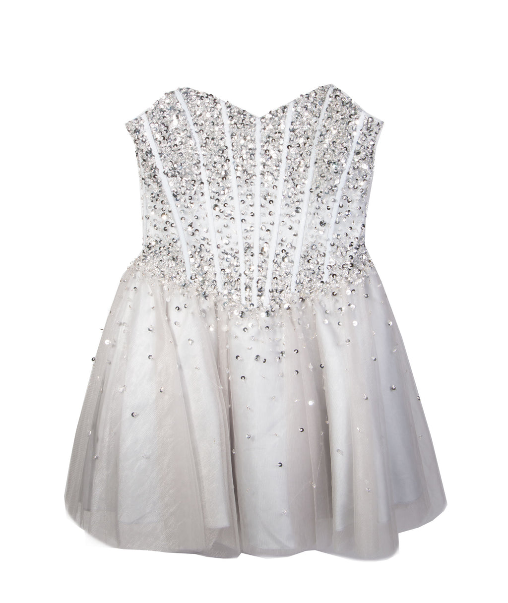 Jovani Silver with Silver Sequin Tutu