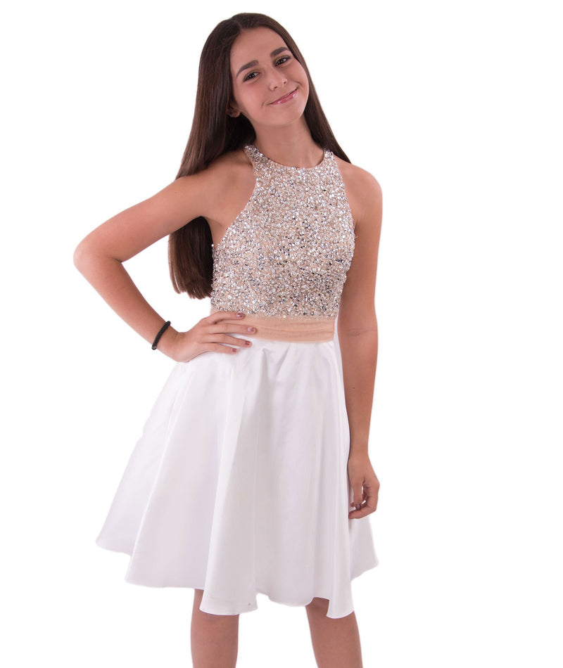 Jovani Women Glitter Ivory Dress