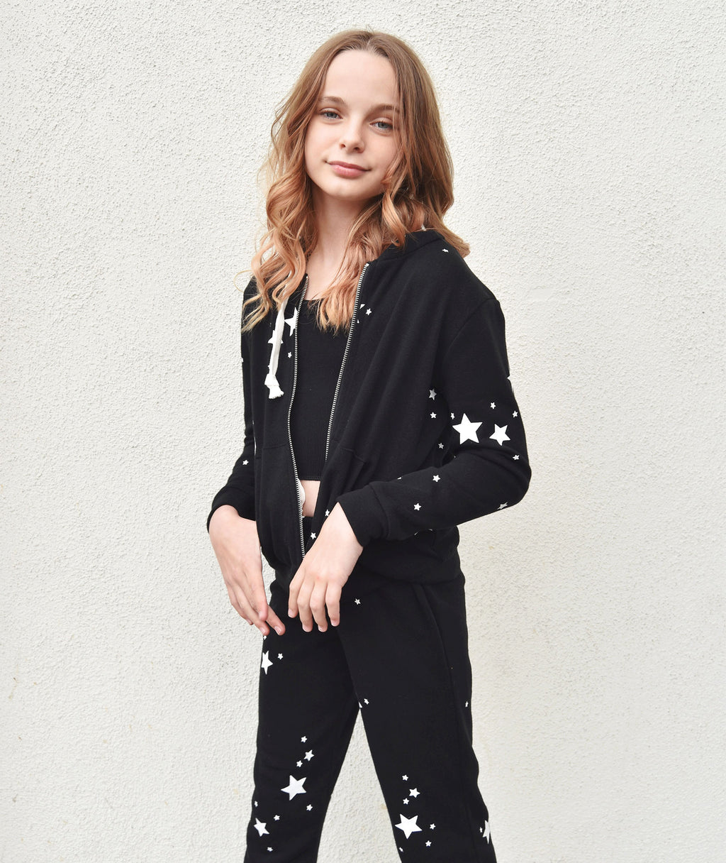 Katie J NYC Girls Faith Black Star Zip Hoodie