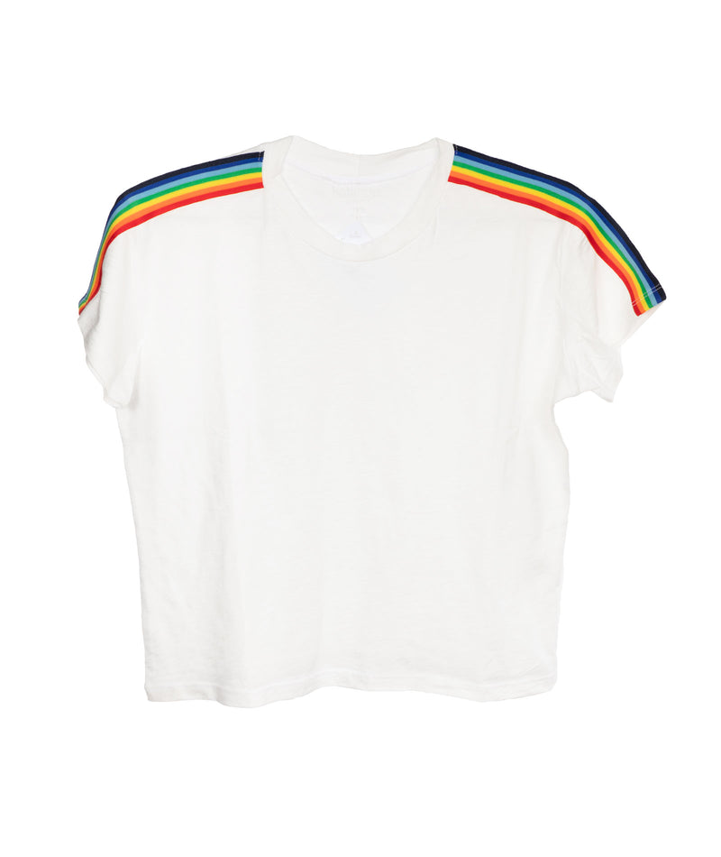 Katie J NYC Girls White Fearless Rainbow Trim Tee
