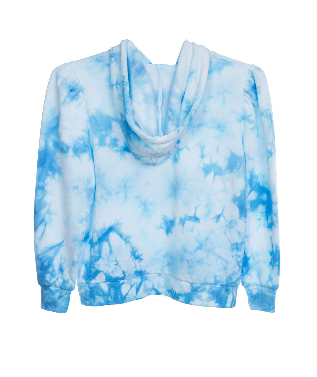 Katie J NYC Girls Frenchie Blue and White Tie Dye Hoodie