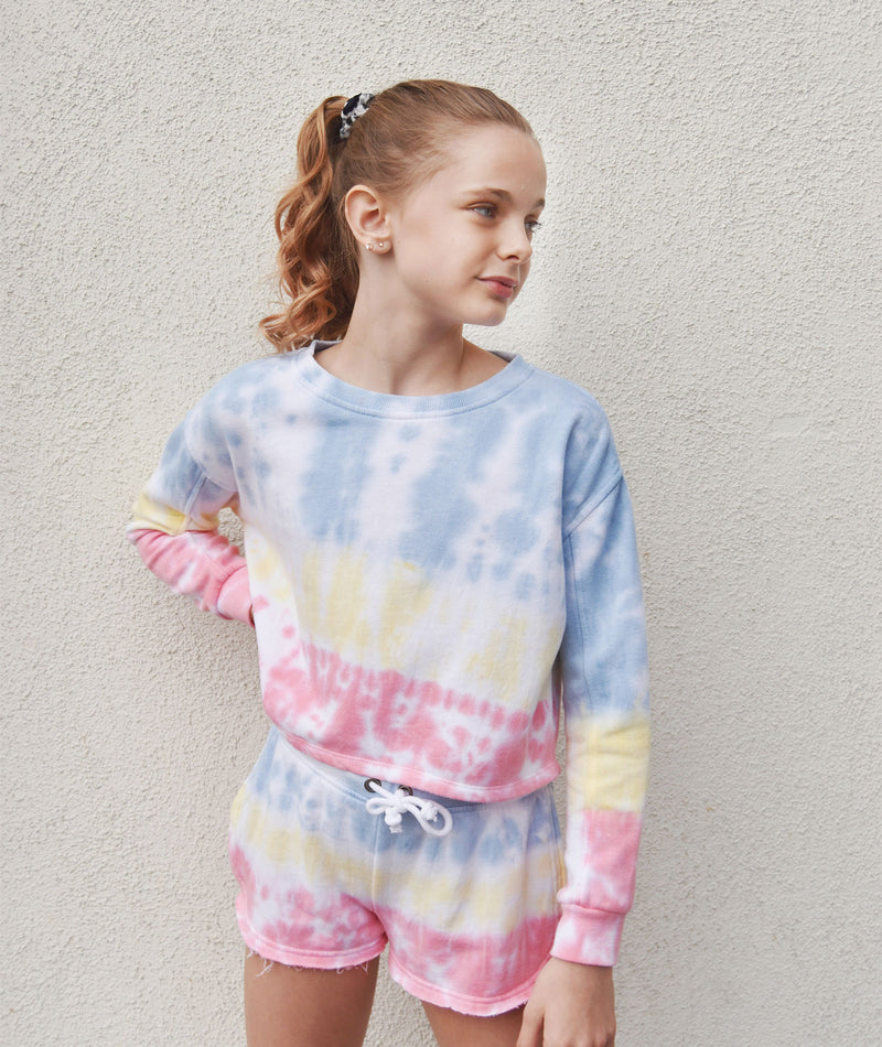 Katie J NYC Girls Lisa Pastel Tie Dye Crop Sweatshirt