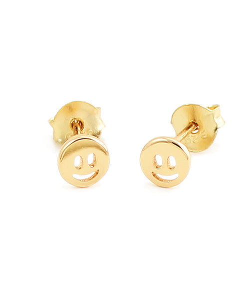 Kris Nations Gold Emoji Smiley Stud Earrings