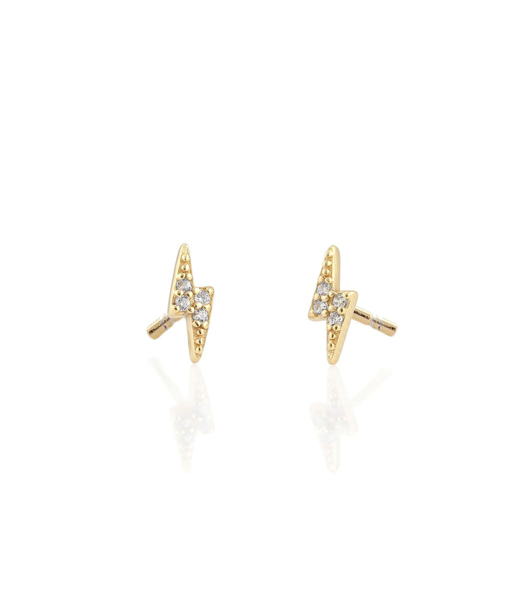 Kris Nations Pave Gold Bolt Earrings