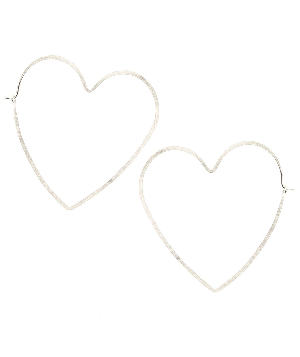 Kris Nations Earrings Hammered Hoop Heart Silver