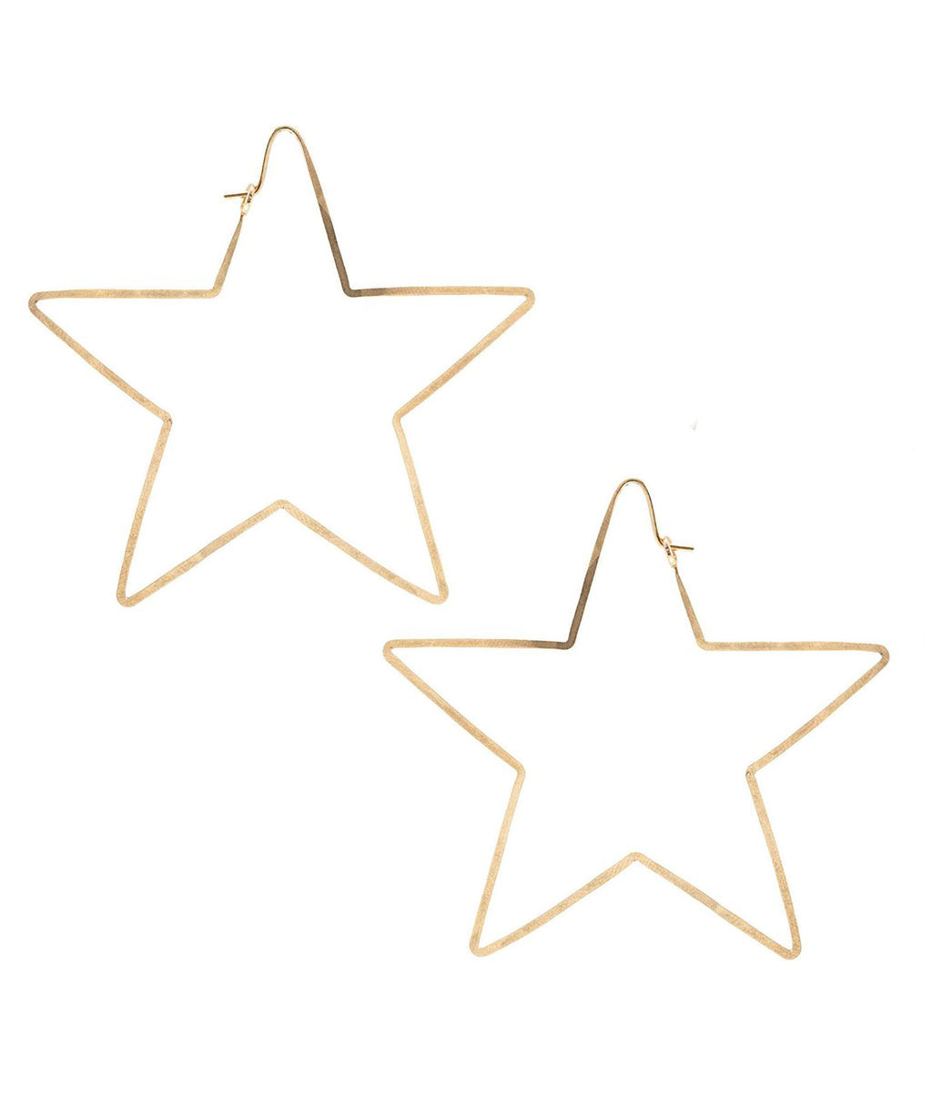Kris Nations Earrings Hammered Hoop Star Gold