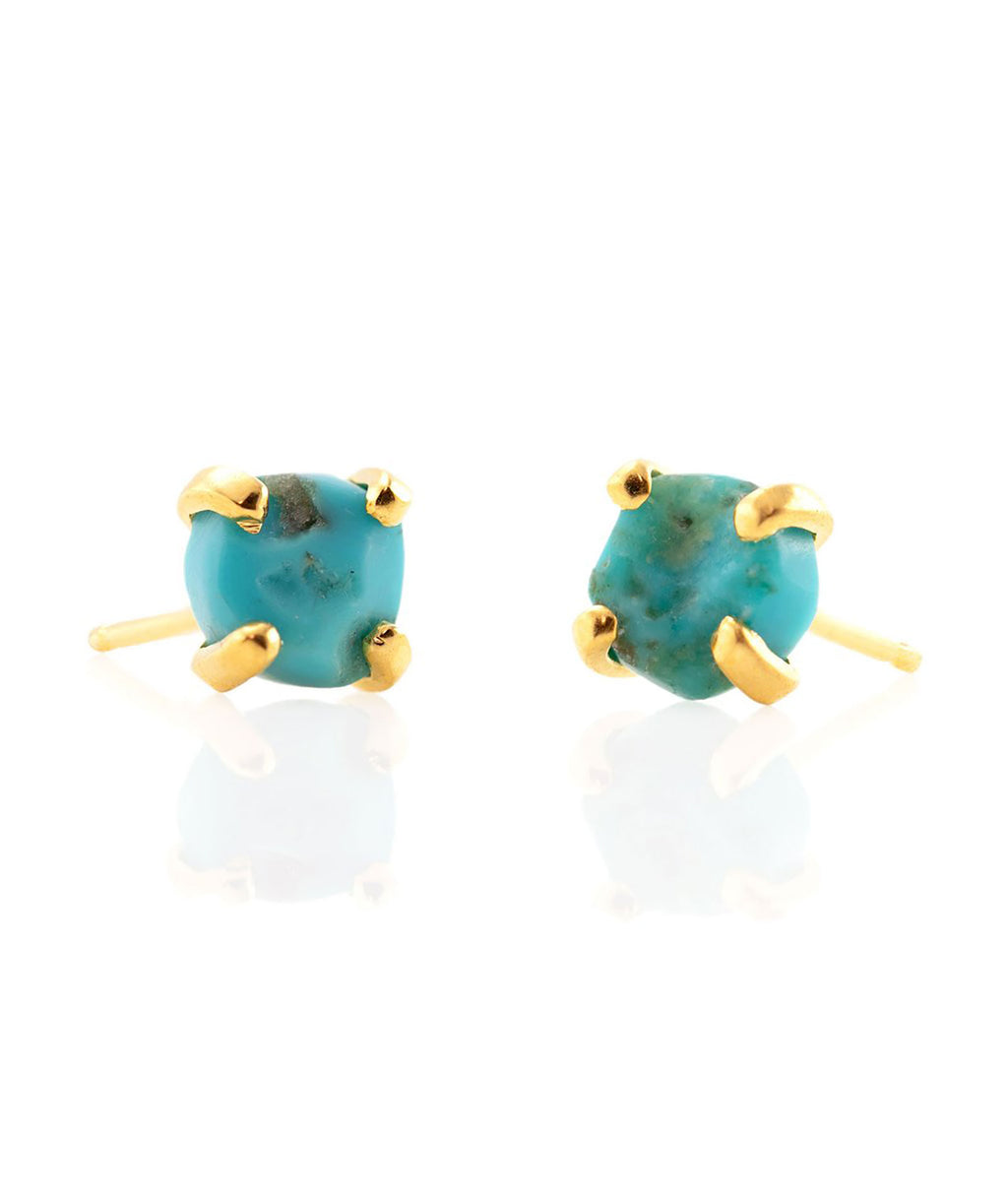 Kris Nations Earrings Uncut Stone Turquoise Gold