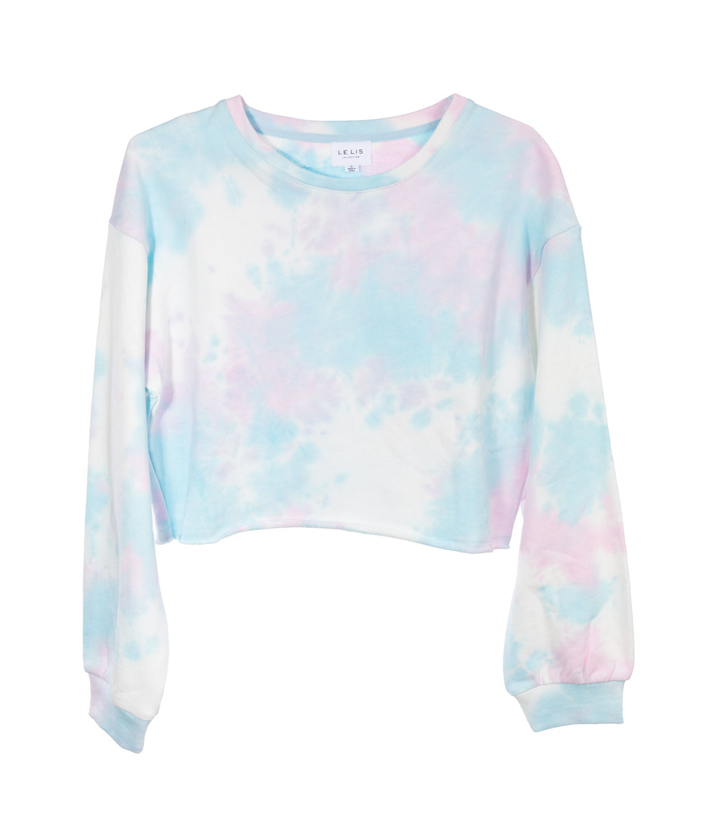 Le Lis Women Blue Tie Dye Crop Sweatshirt