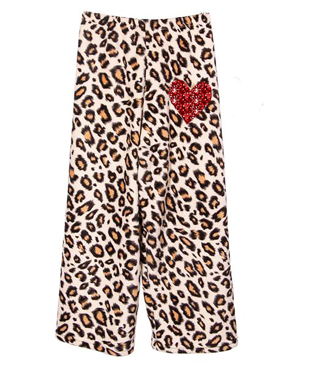 Made with Love and Kisses Red Heart Leopard PJ Pants