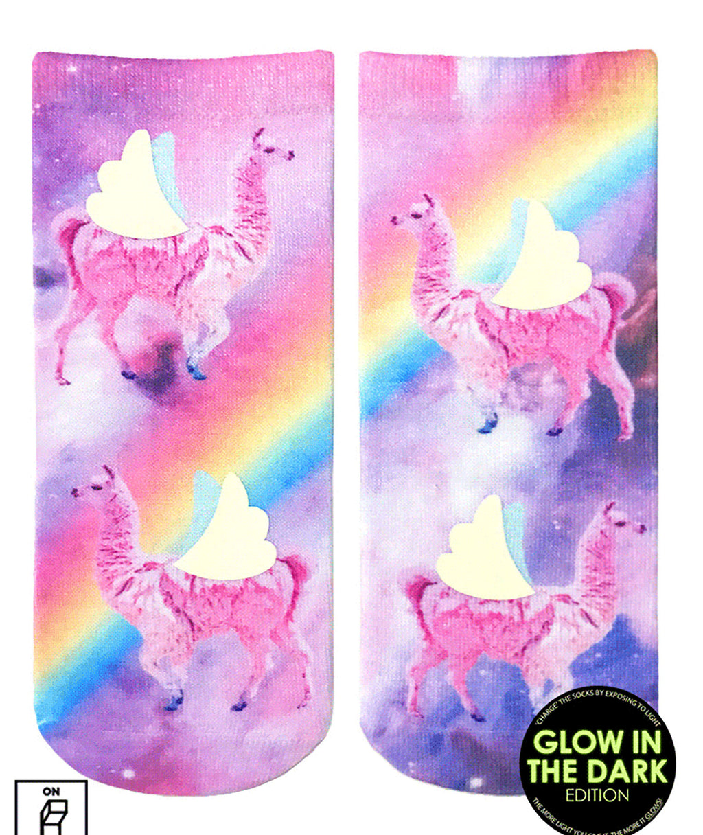 Living Royal Glitter Rainbow Llama Ankle Socks