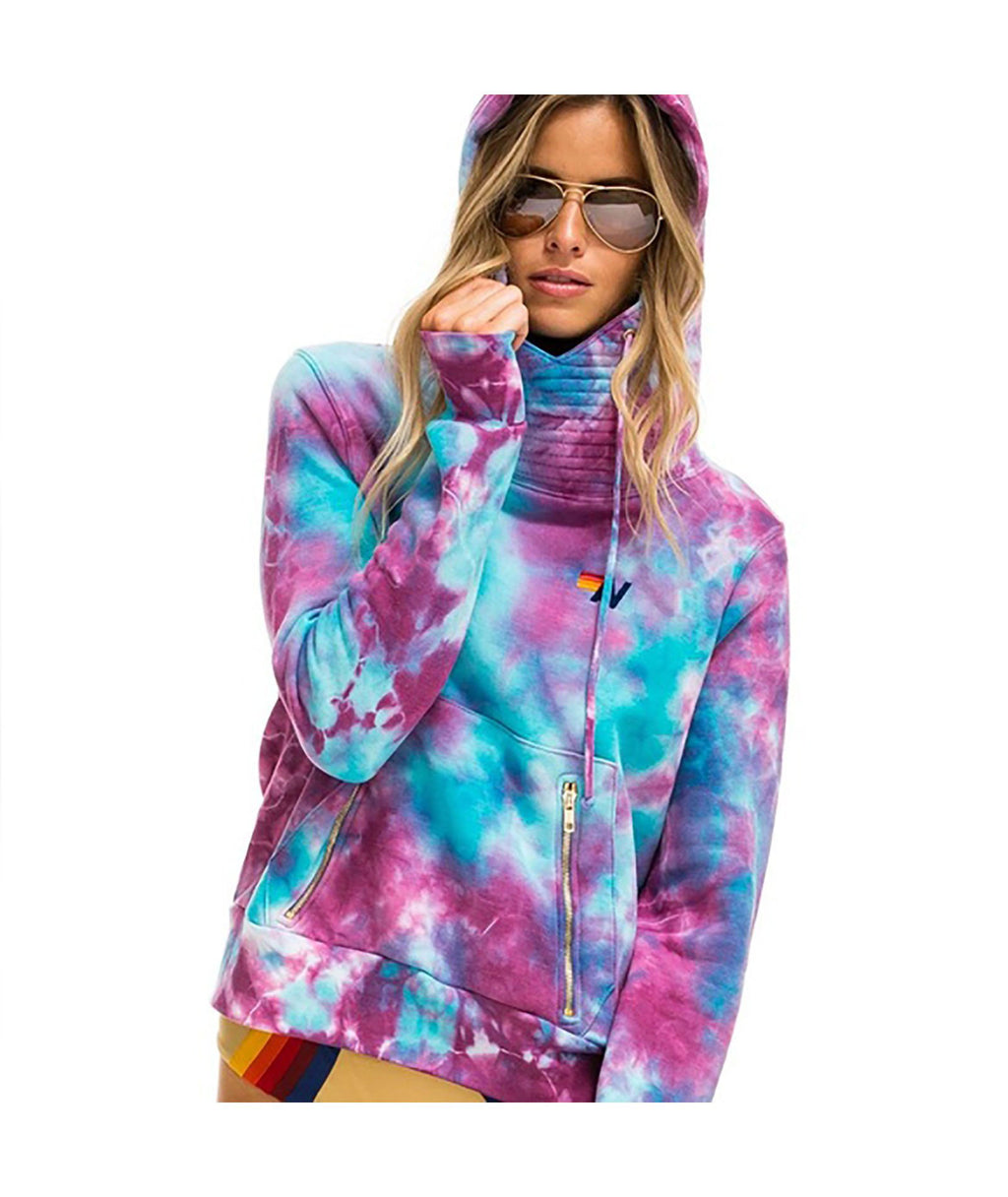 Aviator Nation Women Turquoise Tie-Dye Ninja Hoodie