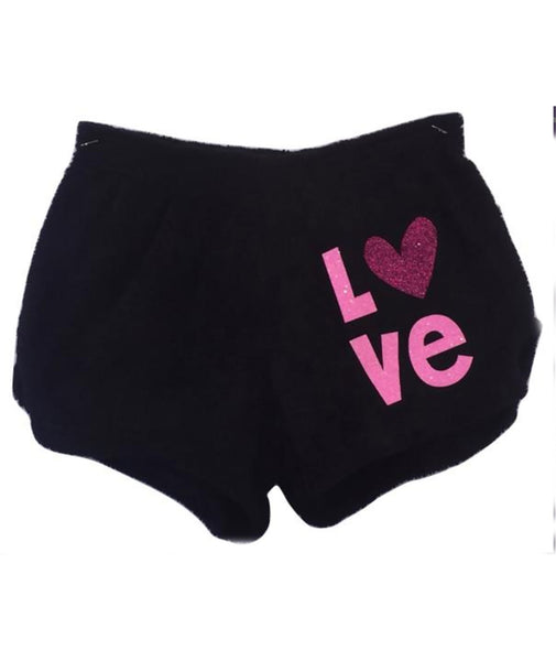 Made with Love and Kisses Glitter Love Plush Shorts