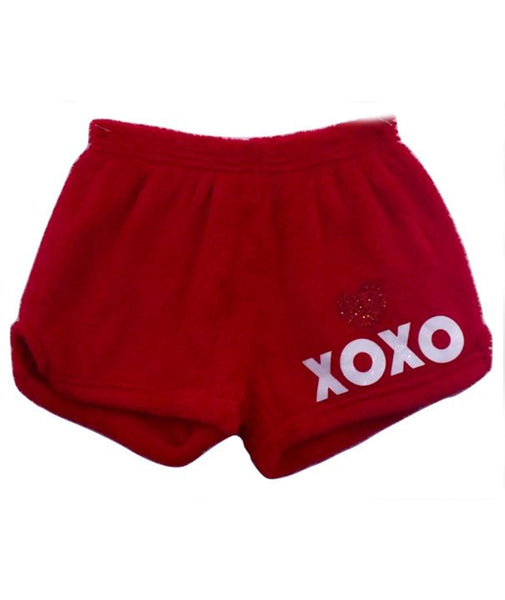 Made with Love and Kisses Glitter XO Plush Shorts