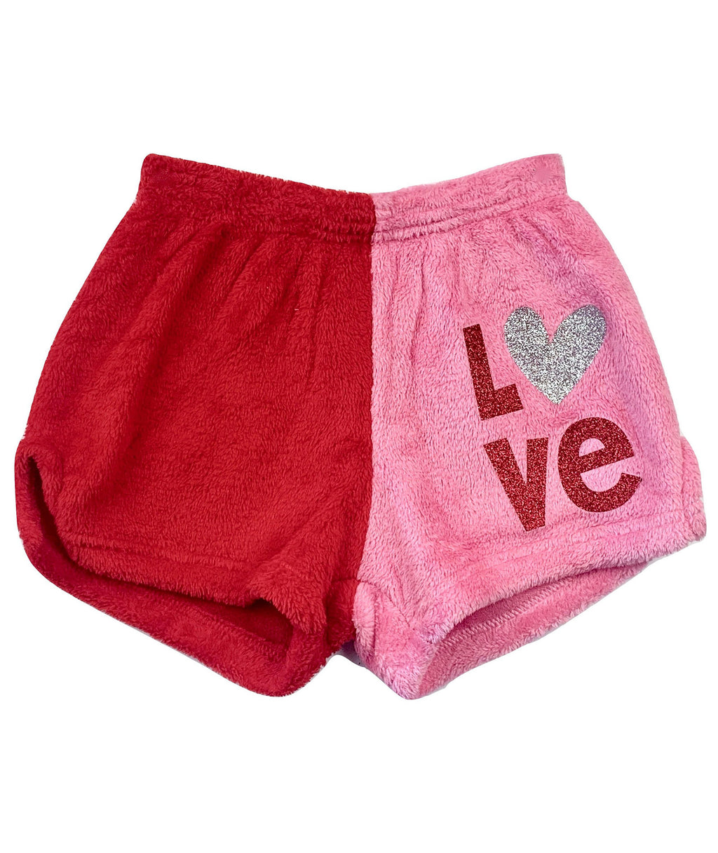 Made with Love and Kisses Girls Red/Pink Glitter Love/Heart Shorts