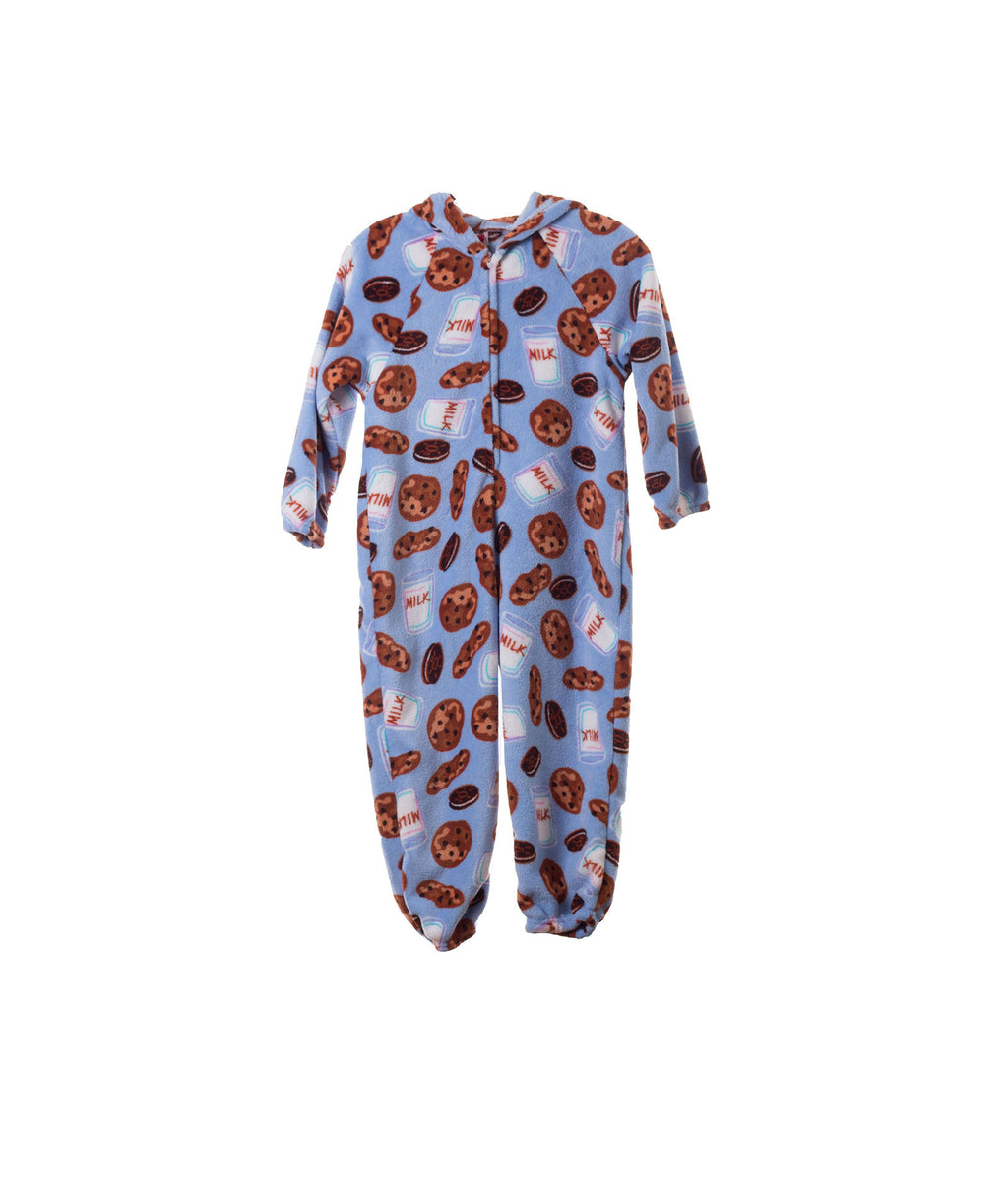 Made with Love and Kisses Girls Baby Blue Milk and Cookies Plush Jumpsuit - Frankie's on the Park