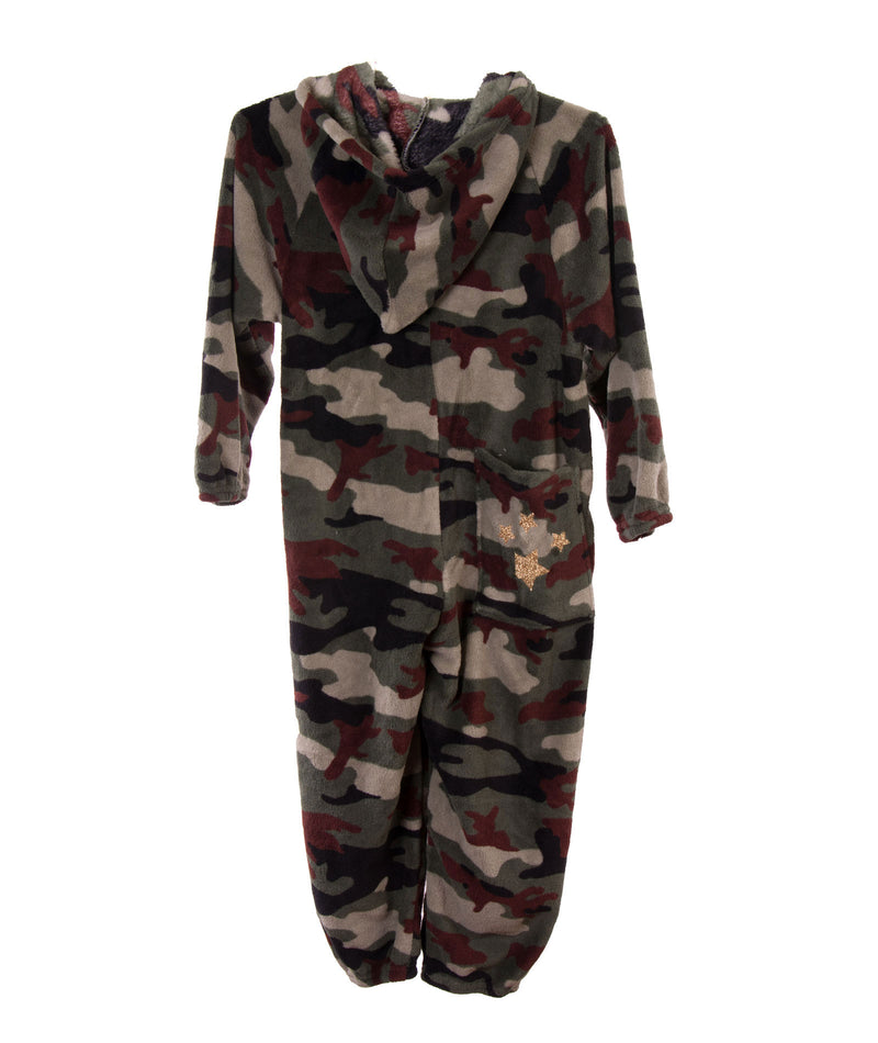 Made with Love and Kisses Girls Camo Star Plush Jumpsuit - Frankie's on the Park