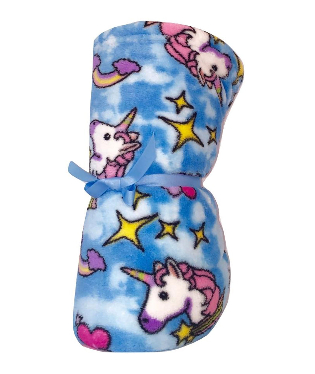 Made with Love and Kisses Girls Blue Unicorn Blanket