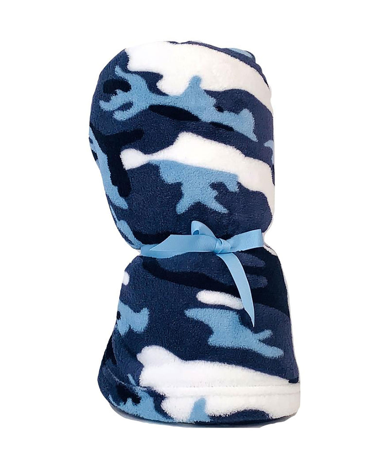 Made with Love and Kisses Blue Camo Blanket