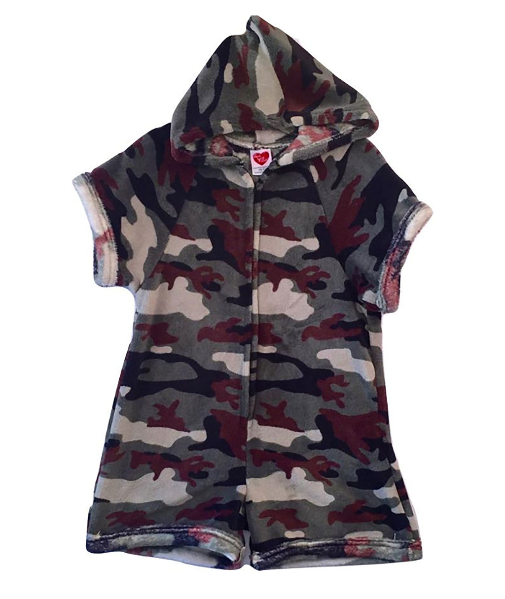 Made with Love and Kisses Camo Green Romper