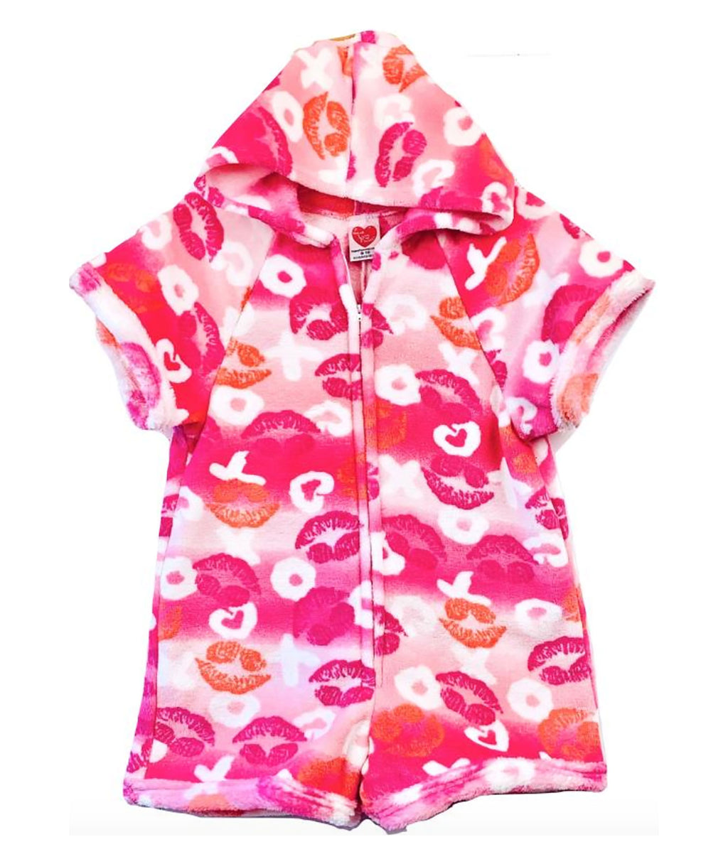 Made with Love and Kisses Girls Pink Lips Romper