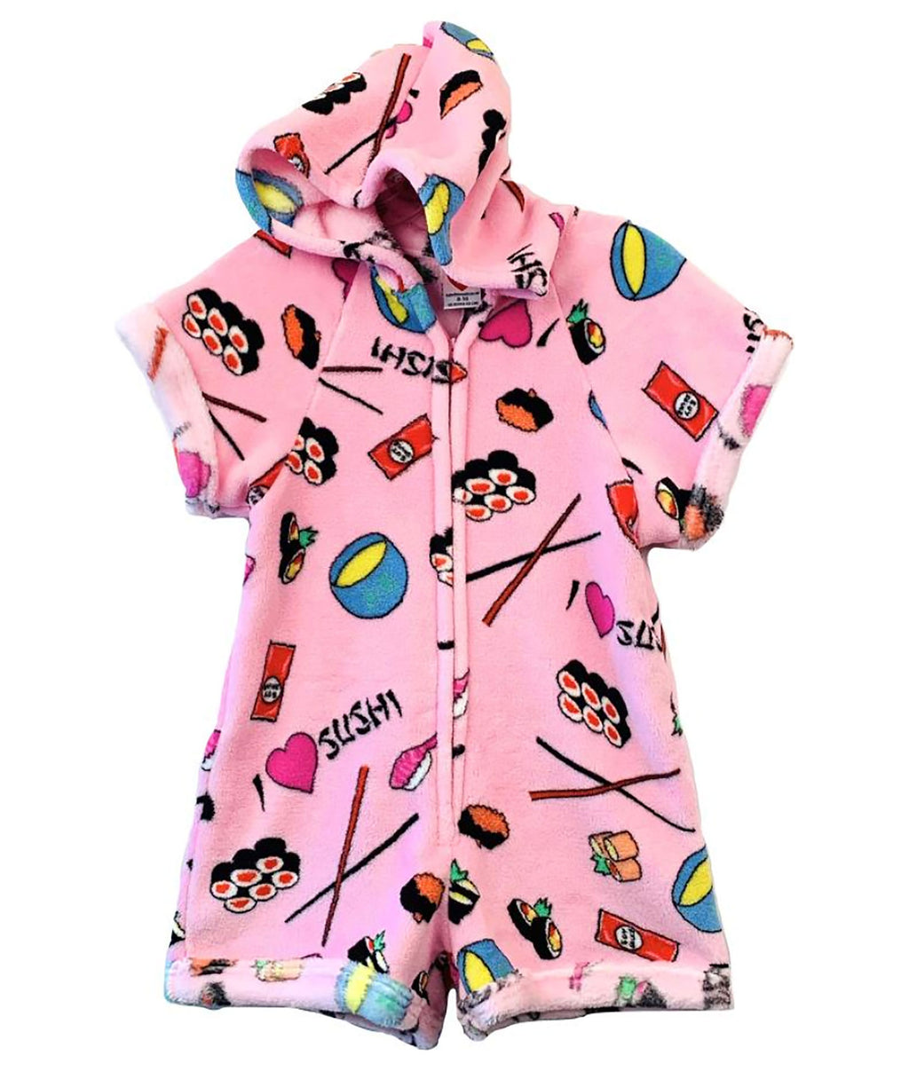 Made with Love and Kisses Girls Pink Sushi Romper