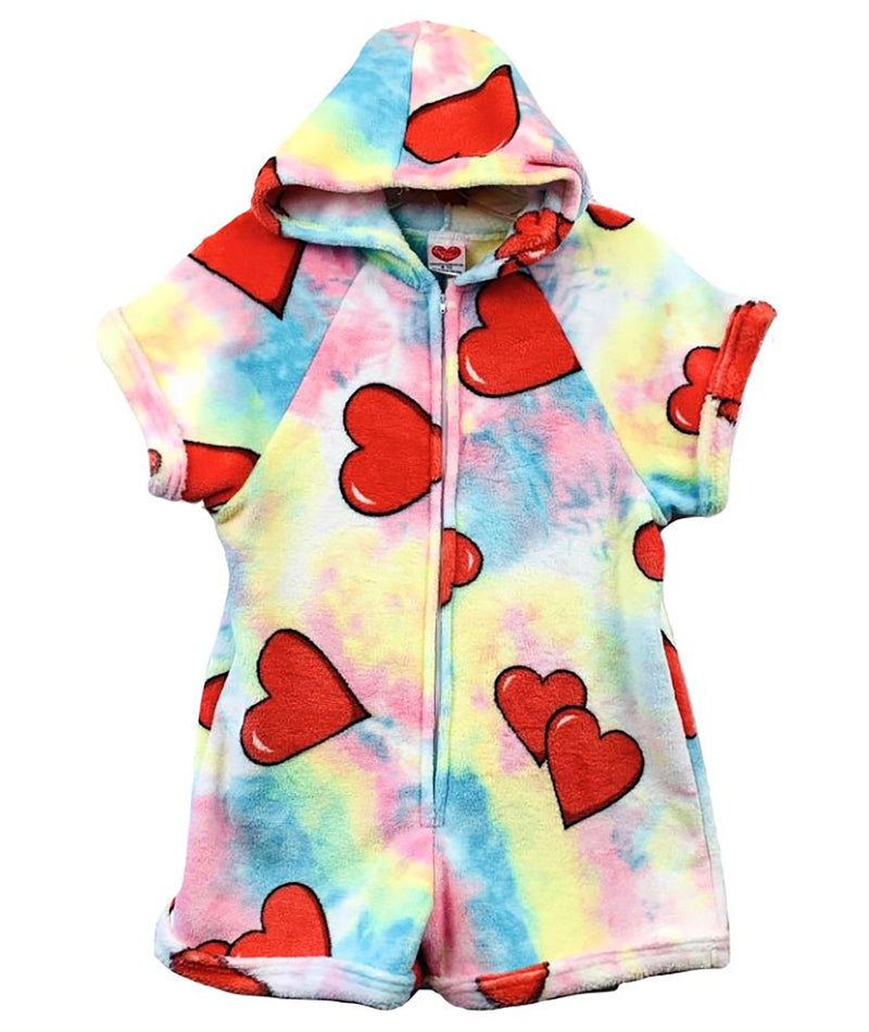 Made with Love and Kisses Tie Dye Hearts Romper