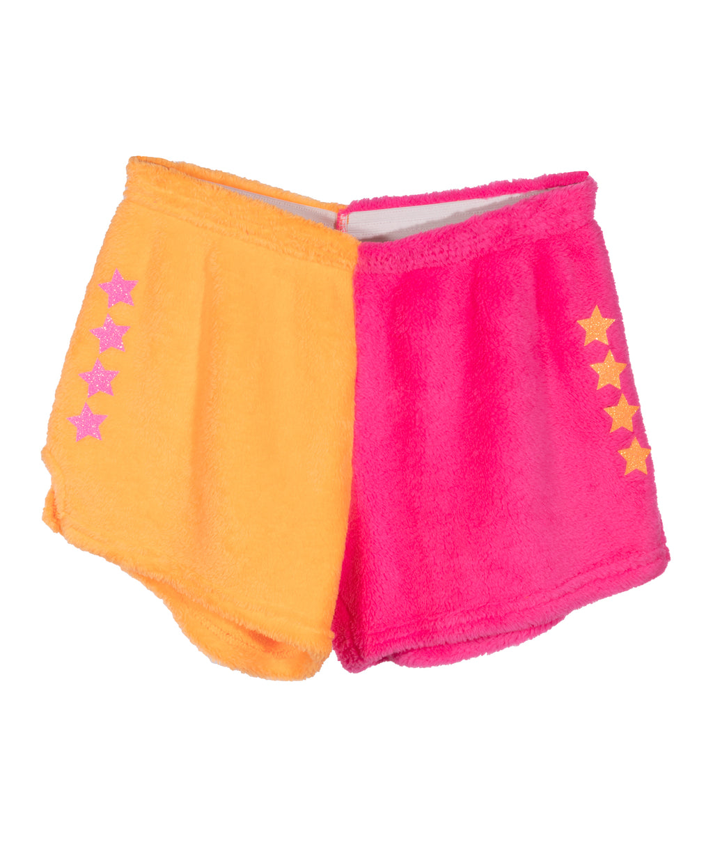 Made with Love and Kisses Girls Pink and Orange Glitter Star Pajama Shorts