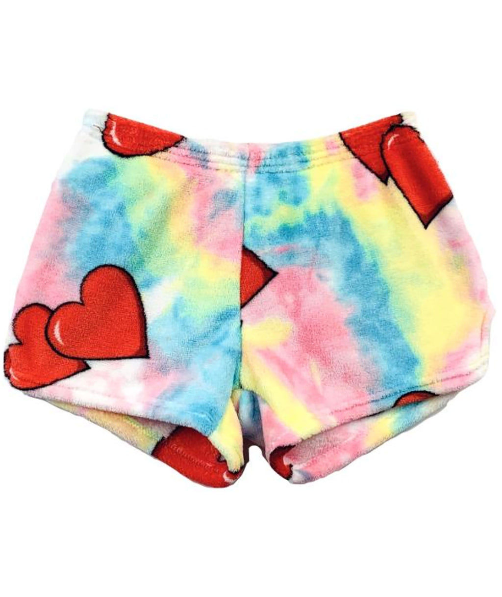 Made with Love and Kisses Tie Dye Heart Shorts
