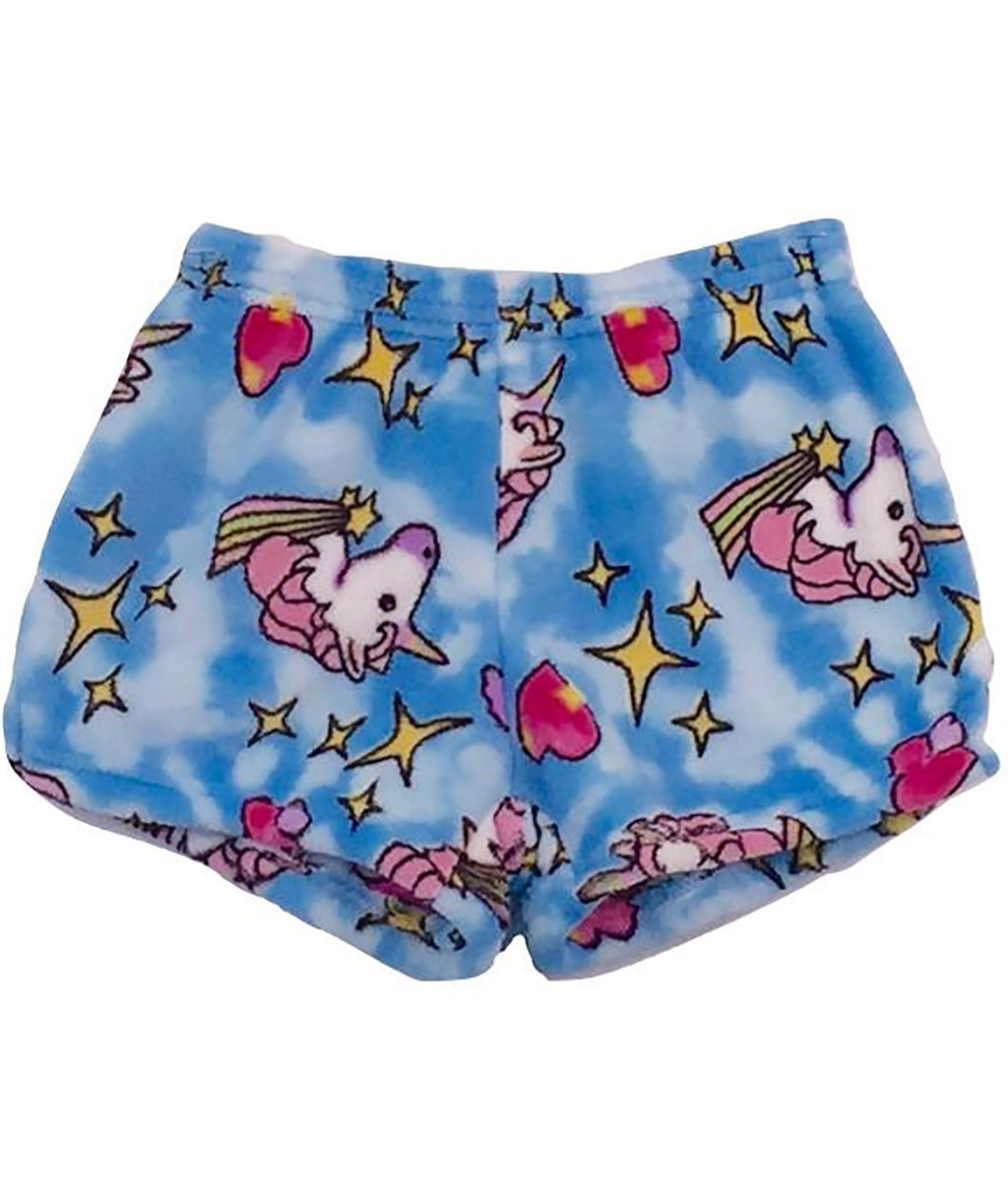 Made with Love and Kisses Girls Blue Unicorn Shorts