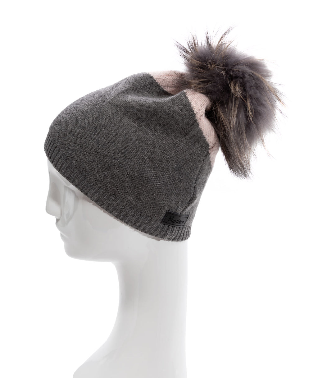 Maniere Pink and Grey Color Block Pom Hat
