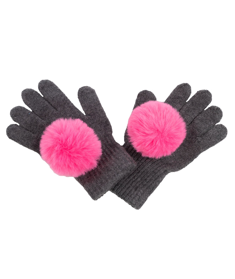 Maniere Girls Grey and Pink Gloves