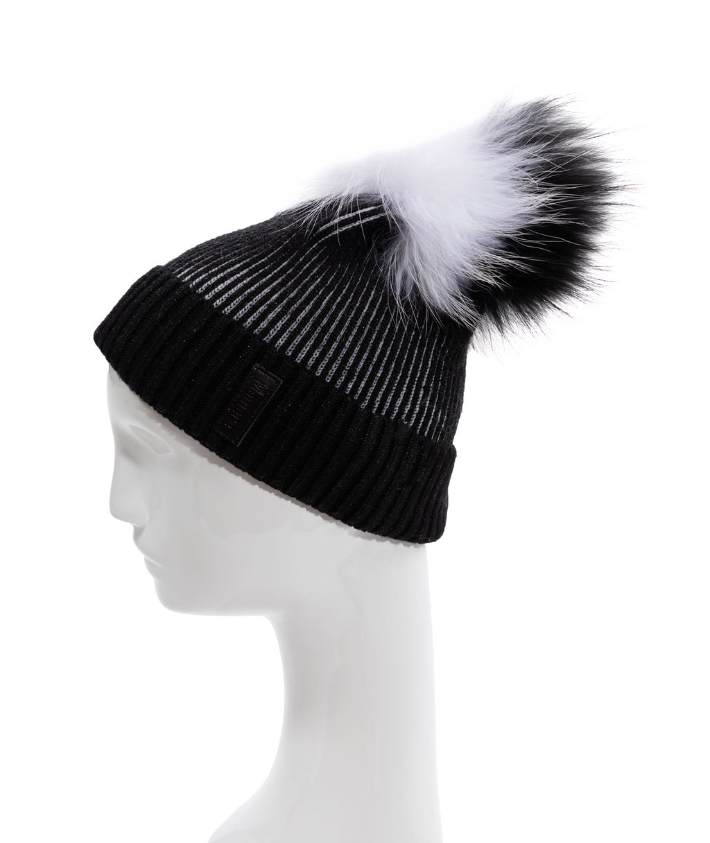Maniere Black Ribbed Pom Hat