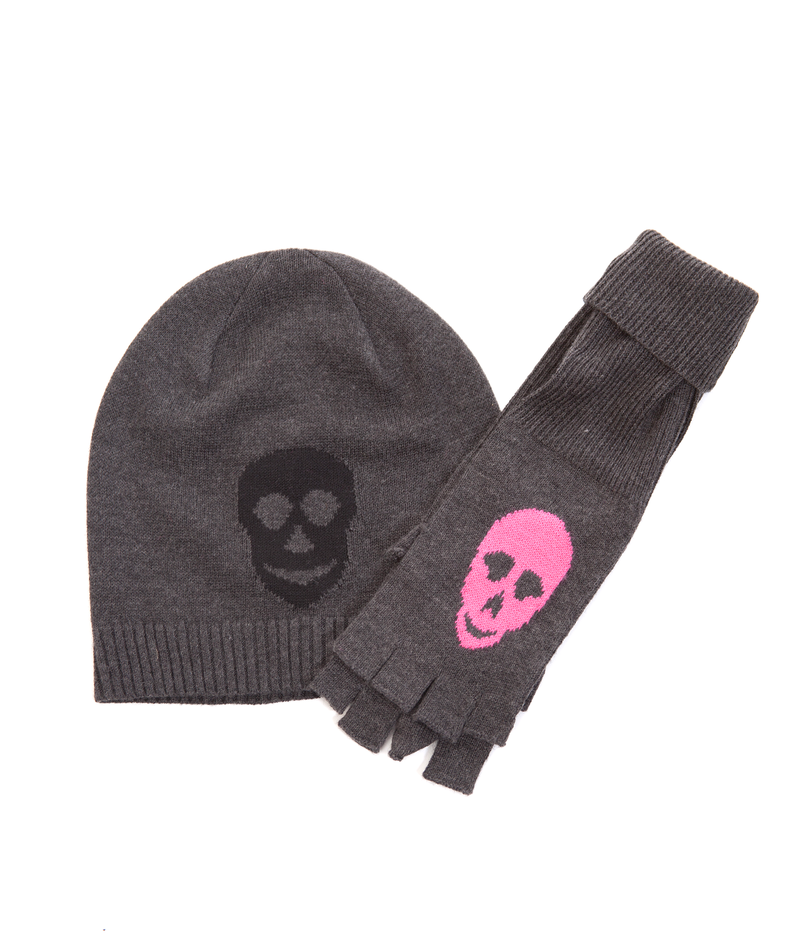 Me.N.U. Charcoal Grey Pink Skull Gloves - Frankie's on the Park