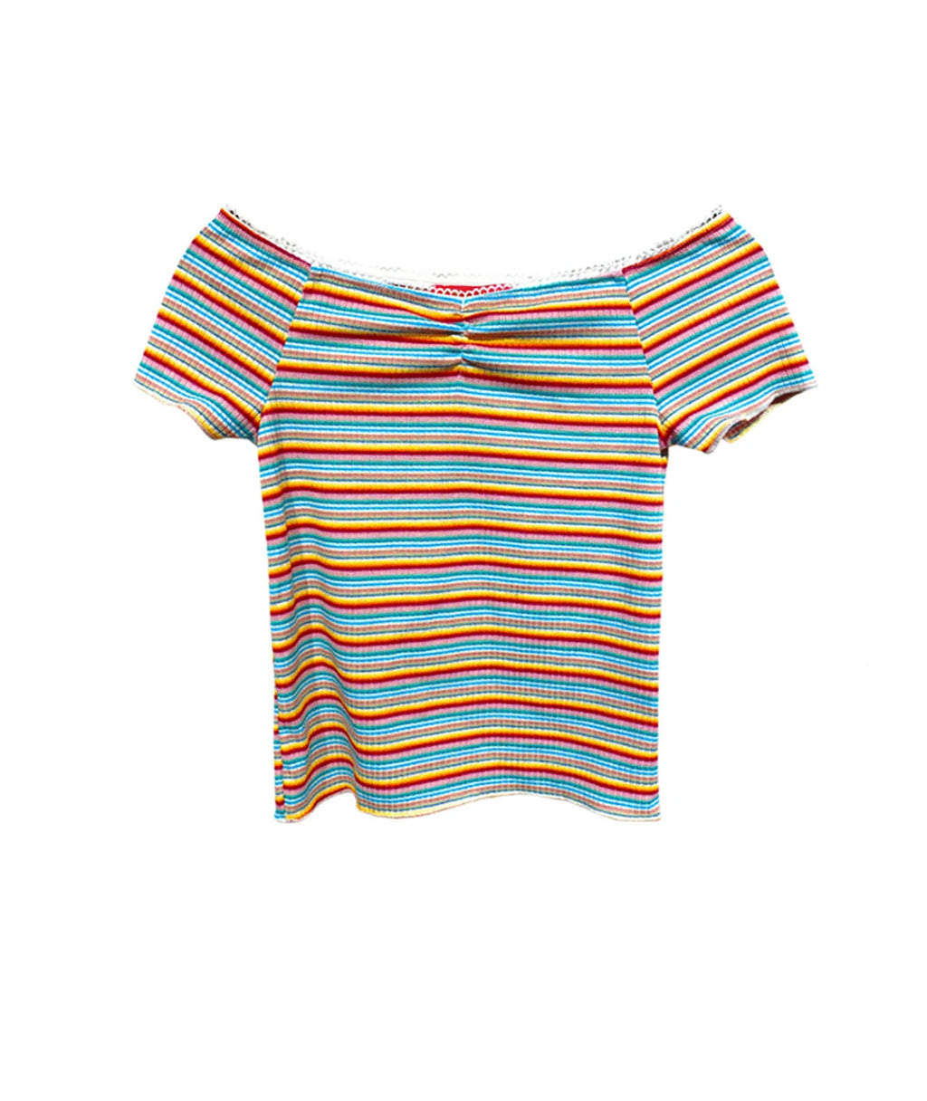 Me.n.u. Girls Off-Shoulder Rainbow Ribbed Top