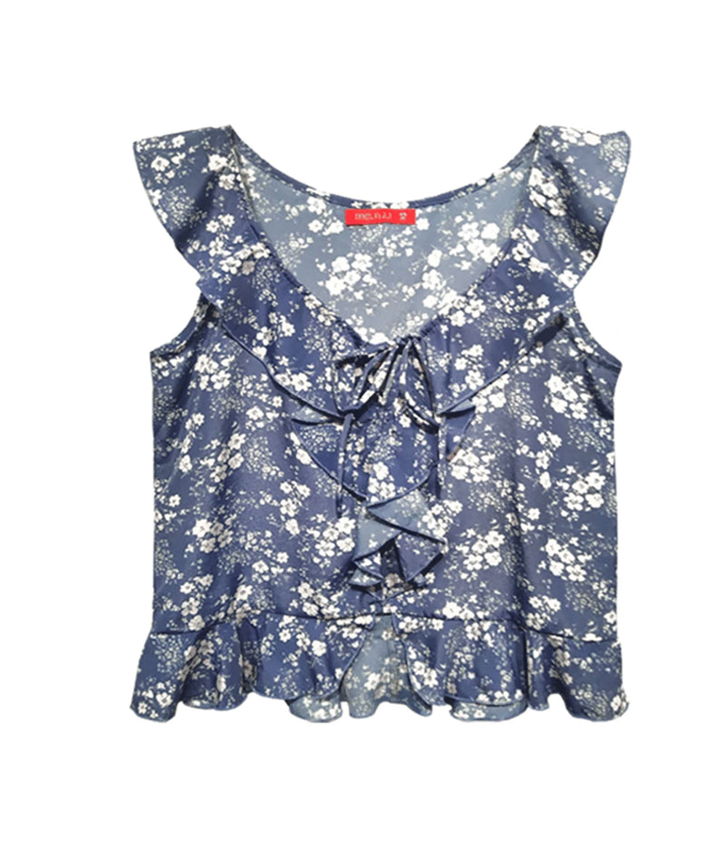 Me.n.u. Girls Blue Ruffle Neck Top