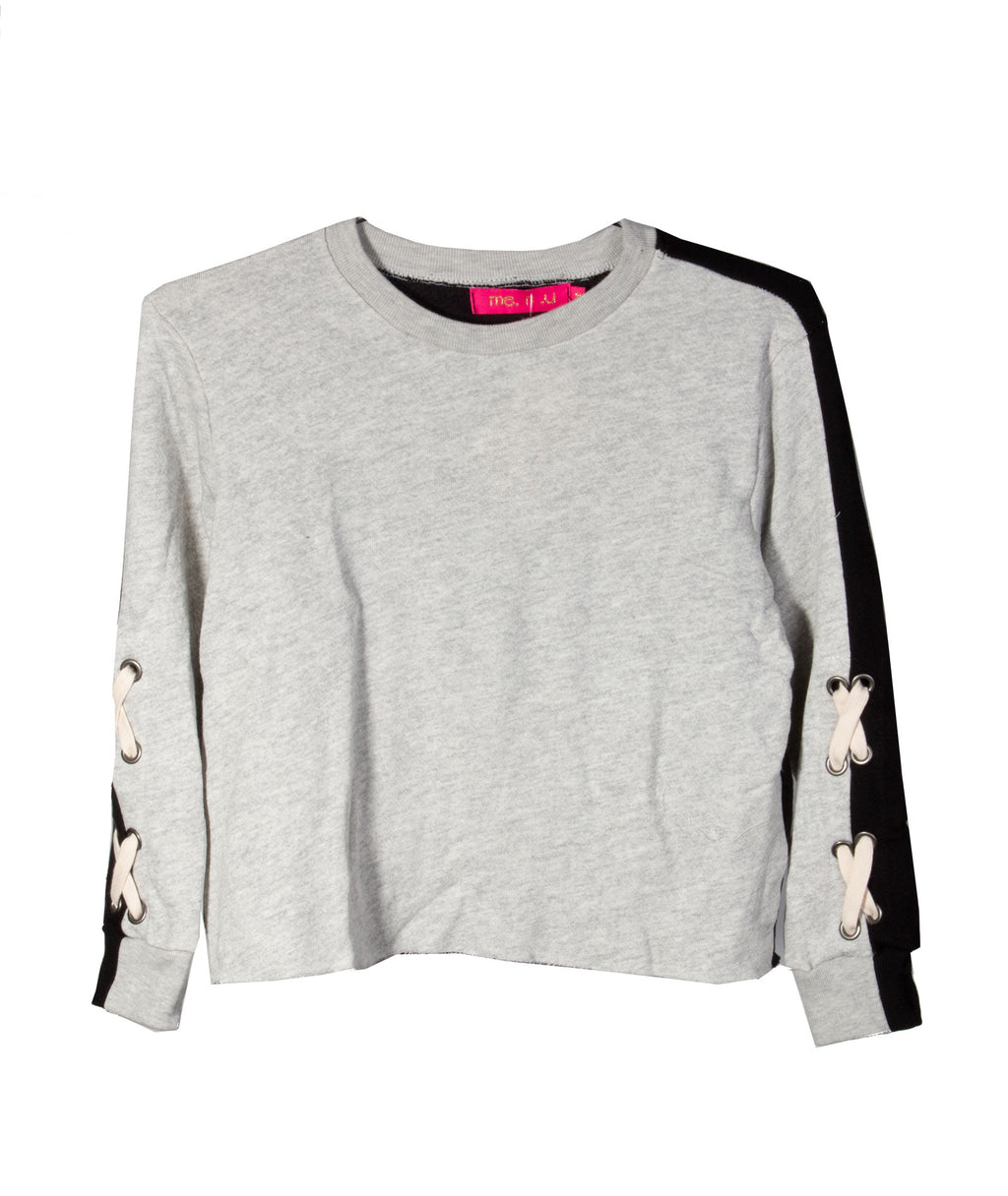 Me.n.u. Girls Grey and Black Lace-Up Sweater