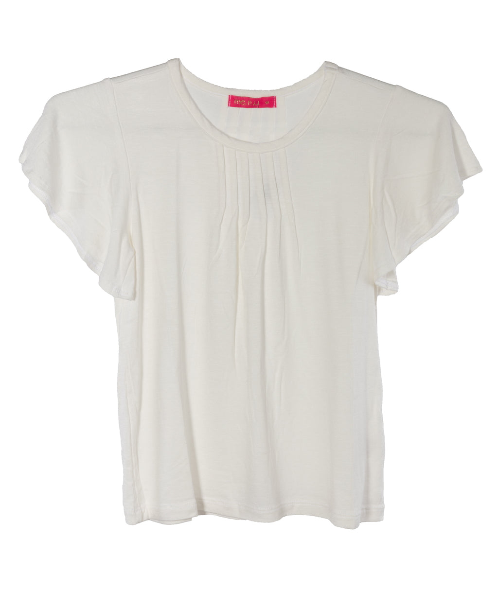 Me.n.u. Girls Ivory Pintuck Tee