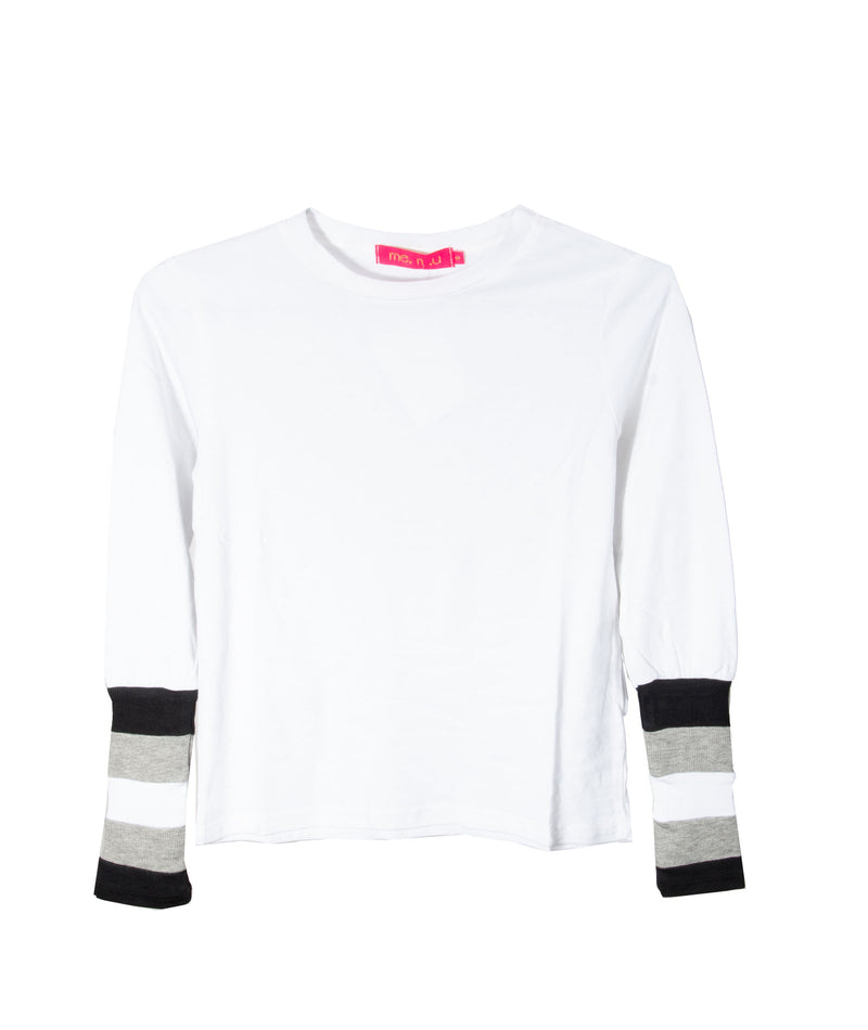 Me.n.u Girls White Ribbed Sleeve Top