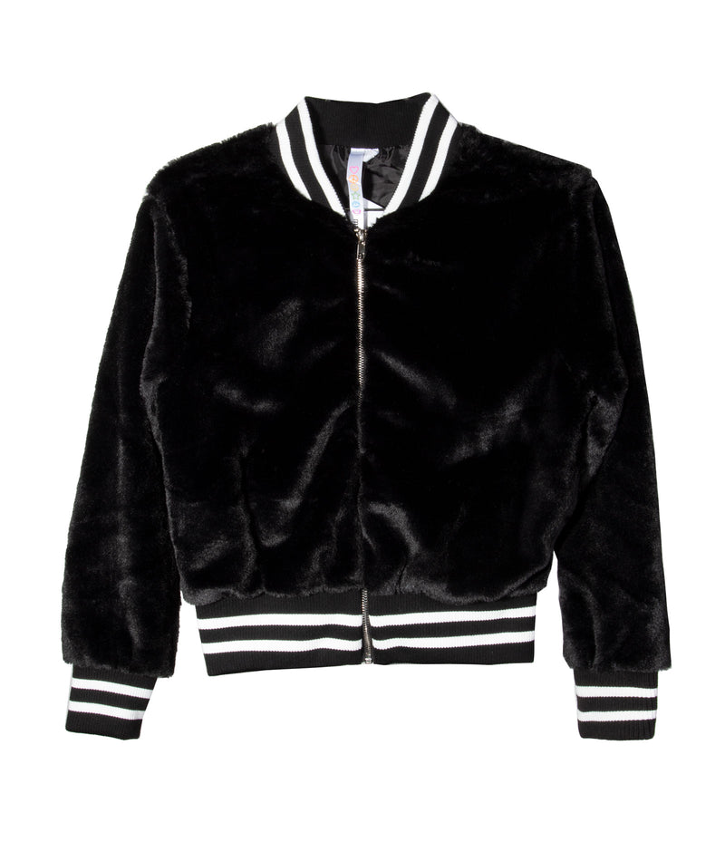 Malibu Sugar Girls Black Stripe Bomber Jacket