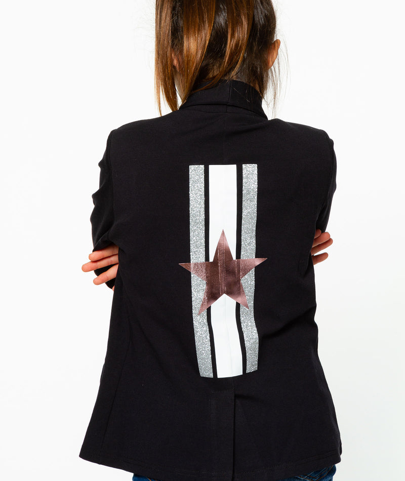 Malibu Sugar Girls Black Star Stripe Blazer