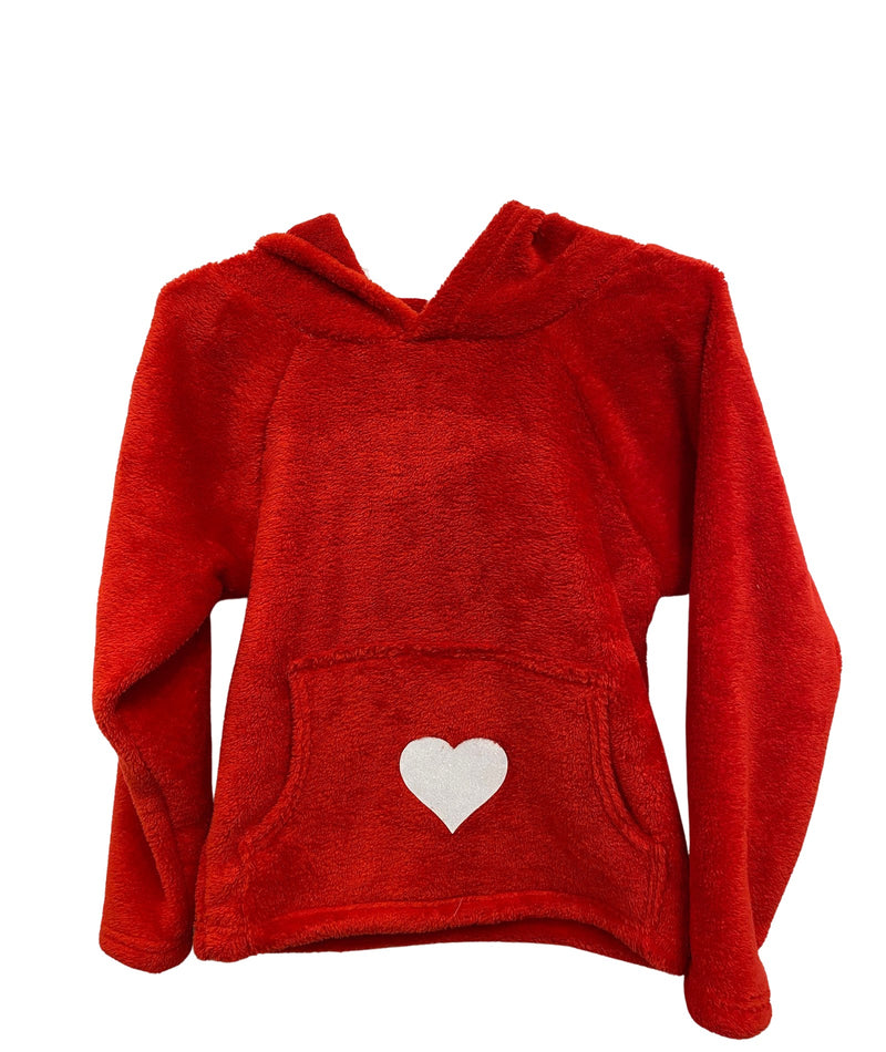 Made with Love and Kisses Girls Red Heart Hoodie