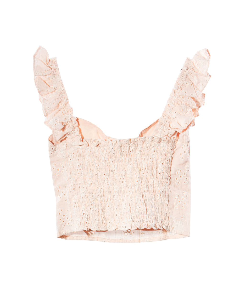 Olivaceous Women Peach Eyelet Top